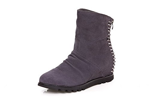 Boots Toe Closed and Womens In Elevator Zippers Gray Heels With Round Toe Shoes Kitten AmoonyFashion tqwHTx0AEt