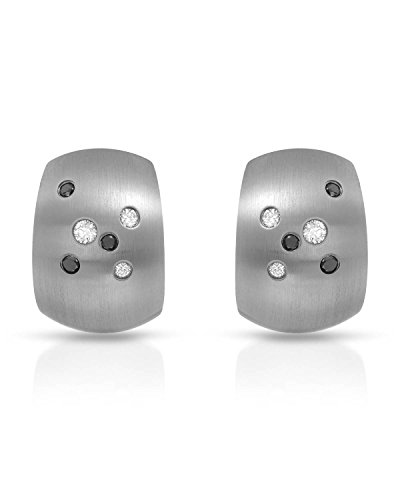 (Teno Stainless Steel 0.14 CTW Diamonds Earrings For Women. Length 15 mm. )