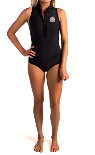 (Rip Curl G Bomb Sleeve Less Bikini Spring Suit, Black/Black, Size 8)