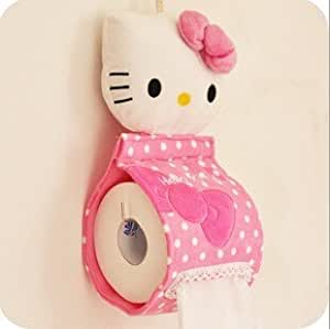 Hello Kitty Style Soft Plush Hanging Roll Toilet Paper Holder Tissue Cover for House - Pink HLI-90802