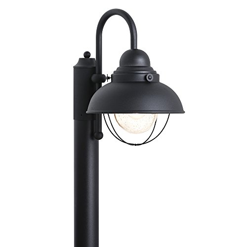 (Sea Gull Lighting 8269-12 Sebring One-Light Outdoor Post Lantern with Clear Seeded Glass Diffuser, Black Finish)
