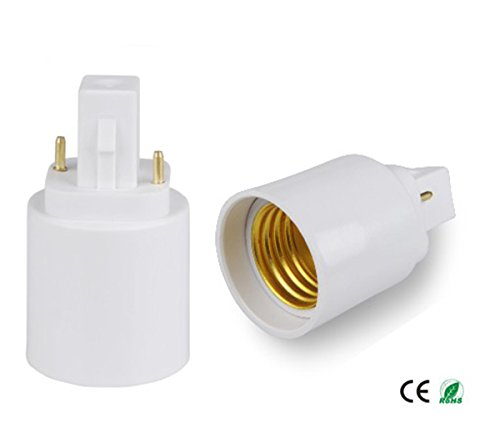 12pcs G24d to E27 Adapter, 2P 21.8mm,E-simpo G24 to E26/E27, GX24d to E27 Lamp Base Converter, Rohs.Need Bypass the Ballast!