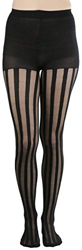 ToBeInStyle Women's Sheer Striped Full Footed Pantyhose - Black - One Size