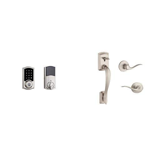 (Kwikset SmartCode 916 Z-Wave Plus Touchscreen Electronic Deadbolt featuring SmartKey Security and Avalon Handleset with Tustin Right Handed and Left Handed Lever Works with Alexa via SmartThings, Wink, or Iris in Satin Nickel)