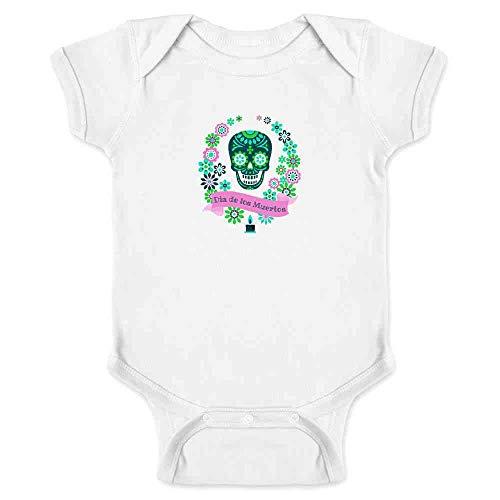 Dia de Los Muertos Sugar Skull Halloween Horror White 12M Infant Bodysuit