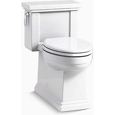 Kohler K-3981-RA-0 TRESHAM Comfort Height one-Piece Compact Elongated 1.28 gpf Toilet with AquaPiston Flush Technology and Right-Hand Trip Lever White