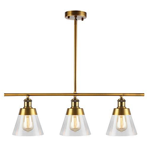 Modern Antique Brass Kitchen Island Lighting, 3-Light Clear Glass Linear Chandelier, Adjustable Rod Mid Century Pendant Light Fixture for Kitchen Island Dining Room Farmhouse