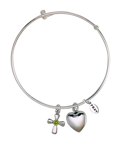 Peridot Cross Religious - August/Peridot Birthstone Bangle with Heart Locket and Cross, 3 Inches, PRB262