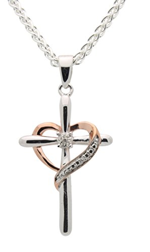 Diamond Heart Cross Necklace f