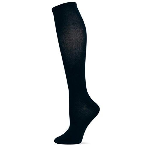 Hot Sox Women's Originals Classics Crew, Silk Blend Knee High (Black), Shoe 4-10 (Sock Size: 9-11)