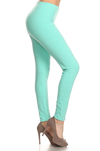 Leggings Depot Ultra Soft Basic Solid Plain Best SELLER Leggings Pants (One Size (Size 0-12), Mint)