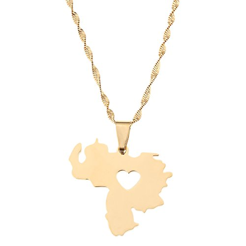 Stainless Steel Venezuela Map Pendant Necklace Gold Color Jewelry Venezuelan Jewelry