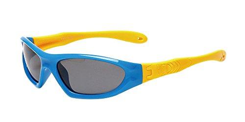 XFentech Lunettes de Soleil Polarisées pour Garçons & Filles Monture en caoutchouc flexible Enfants Sport Lunettes Bleu Royal/Jaune