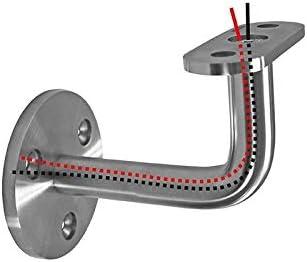 Supporto da parete per corrimano a LED in acciaio inox piatto 0112-000-LED