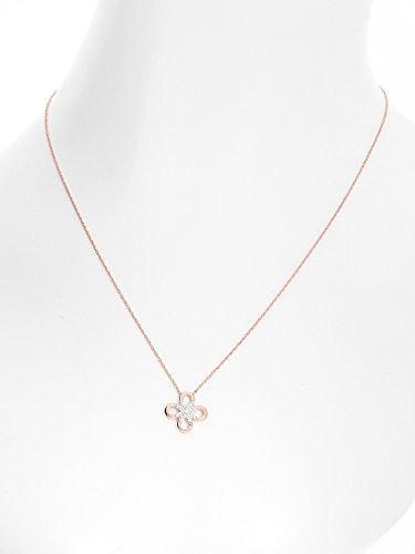 MyGold-Collier Femme avec pendentif diamant 0.06Cts-Or rouge chaîne 45cm Rosace Fleur Ø 1,7mm Fixe Diamant Chaîne Or Eleana mod de 07870