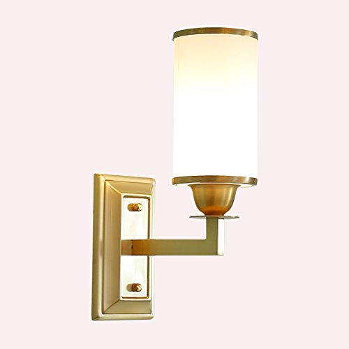 American Copper Wall Lamp, Bedside Bedroom Lamp Aisle Single Head High Transmittance Glass Lamp Wall Continental
