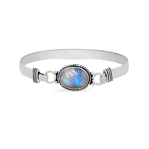 925 Silver Plated 9.10ct, Genuine Rainbow Moonstone Bangle Made by Sterling Silver Jewelry - Moonstone Silver Bangles