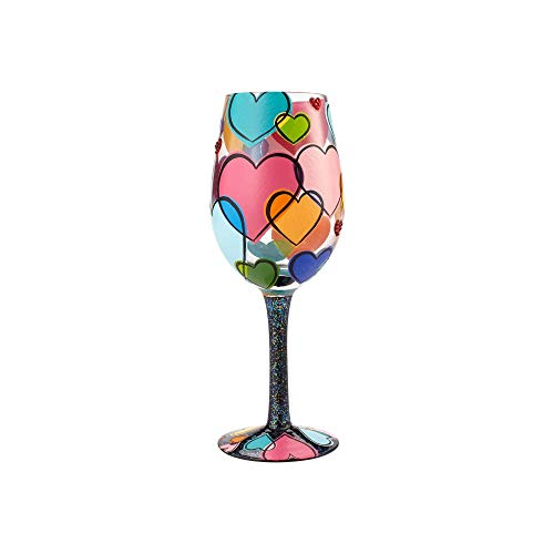 (Enesco Lolita Love is All Around Hand Painted Wine Glass, 15 oz, Multicolor)