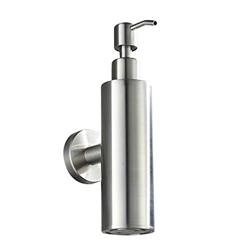 WOLIBEER Round Shampoo Dispenser, Stainless Steel Dispenser for Liquid Soap Silver Shampoo Dispenser Kitchen Modern Style Rustproof Brushed Nickel Finished Wall Mount for Shower
