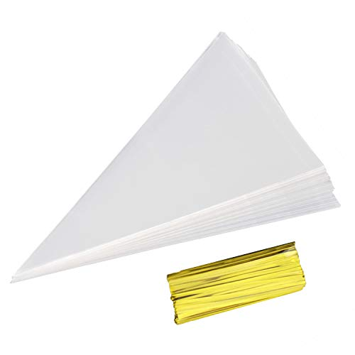 "Cone Bag 100 PCS Clear Cello Treat Bags Popcorn Bags 7"" by 15"" Triangle Goody Bags with Twist Ties for Candies Handmade Cookies (100 Large)"