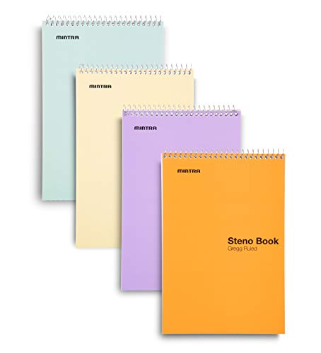 Mintra Office Steno Book - 6x9 - Pastel Colors 4 Pad/Pack - Gregg Ruled-paper (Assorted Color Covers) 70 Sheets - - Notebook for writing notes in school, university, college, work, office (Color College Ruled Paper)