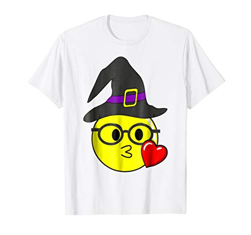 Funny Halloween Emojis Witch with Glasses Kissing Nerd Face