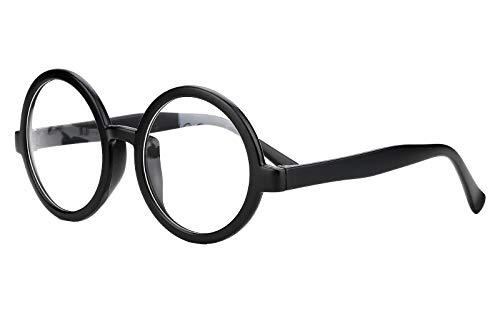 Beison Vintage Round Glasses Frame Inspired Eyeglasses Circle Clear Lens (Matte black, 52)