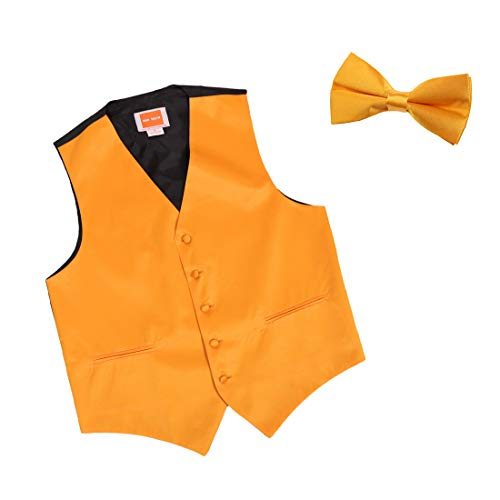 Dan Smith DGEE0009-M Gold Plain Microfiber Handsome Tuxedo Vest Satin Perfection For Pretty Vest Matching Bow Tie