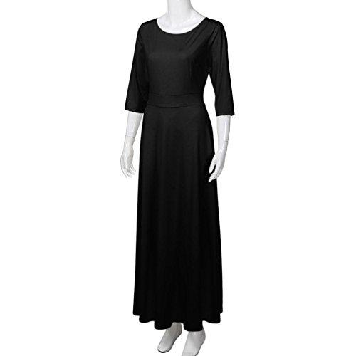 Damen Halblange Kleider Tpulling Frau Mode Einfarbig Bedrucktes