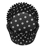 Fox Run 6925 Polka Dot Bake Cups, Standard, 50 Cups, Black