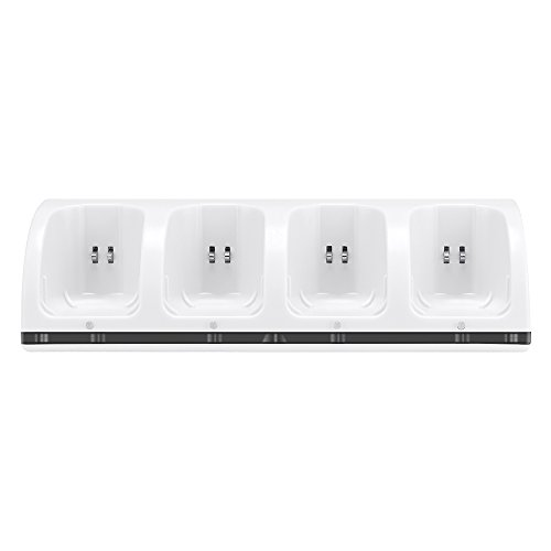 (Lavuky 4 Port Charger Dock Station for Wii Remotes with 4 Rechargeable Batteries(Ni-MH) -WD11 White)