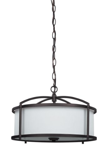 CANARM LTD. ICH366A03ORB17 Abbot 3 Bulb Chandelier Light, Oil Rubbed Bronze - The pleasing contrast of dark finish against white glass adds depth and character to your decor and blends with any setting 3-bulb Chandelier with Oil Rubbed Bronze finish with white fabric shade, Uses 3 60-Watt bulbs, type A (Not included) Size: Height 11-Inch Width 16-3/4-Inch - kitchen-dining-room-decor, kitchen-dining-room, chandeliers-lighting - 31%2BqPstpTjL -