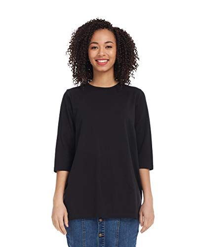 Esteez Women's Tee - Loose Fitting T-Shirt -3/4 Sleeve Black 2X