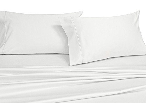 Royal's Solid White 250-Thread-Count 4pc Queen Bed Sheet Set 100% Cotton, Superior Percale Weave, Crispy Soft, Deep Pocket, 100% Cotton