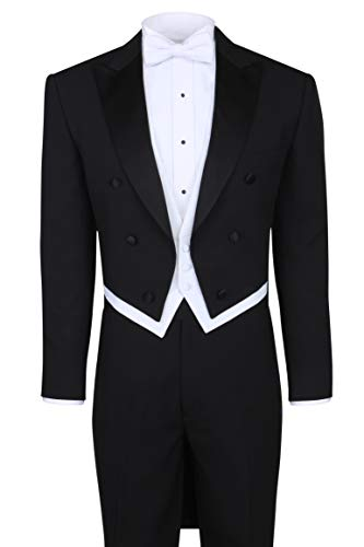 S.H. Churchill & Co. Black Tailcoat Tuxedo & Tuxedo Pants - 44 Regular