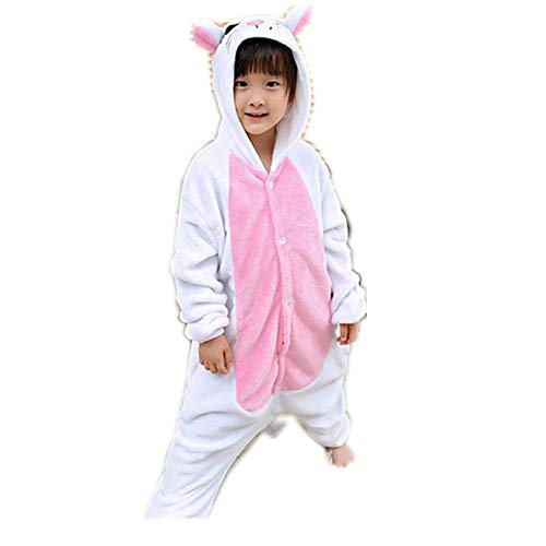 ALLAK Kids Costume Halloween Hooded Jumpsuit with Pockets(white-95-for Height (102-110cm)) -