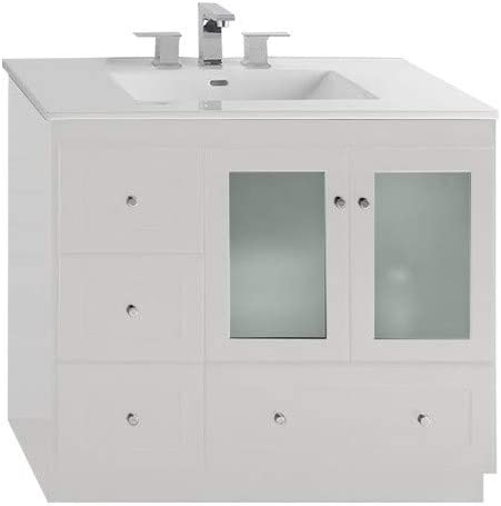 Amazon Com Ronbow Essentials Shaker 36 Inch Bathroom Vanity Cabinet Base In White Finish With Soft Close Frosted Glass Doors On Right And Full Extension Drawers 081936 1r W01 Kitchen Dining