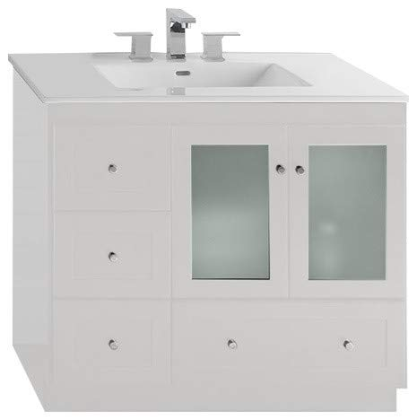 (RONBOW Essentials Shaker 36 Inch Bathroom Vanity Cabinet Base in White Finish, with Soft Close Frosted Glass Doors on Right and Full Extension Drawers 081936-1R-W01)