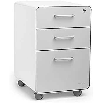 23dace539f9 Amazon.com   Poppin White + Light Gray Stow Rolling 3-Drawer File ...