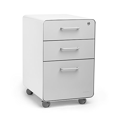 Light Gray Vertical 4 Drawer (Poppin White + Light Gray Stow Rolling 3-Drawer File Cabinet, Available in 10 Colors, Legal/Letter)