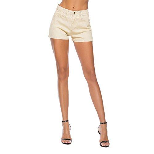 Kairuun Donna Jeans A Vita Alta Slim Fit Pantaloncini Di Jeans Elasticizzati Pantaloni Attillati Giallo Chiaro