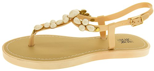 Footwear Studio Keddo Ladies T-Bar Summer Sandals Beige