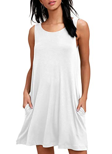 WEACZZY Women Summer Casual T Shirt Dresses Beach Cover up Plain Pleated Tank Dress White Small