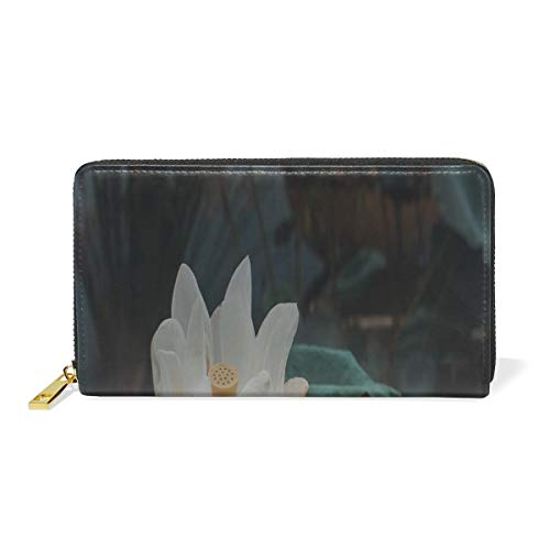 c7b1a836a Rh Studio Wallet Lotus Flower White Themes Leather Clutch Purse Long Wallet  Handbag Card Holder