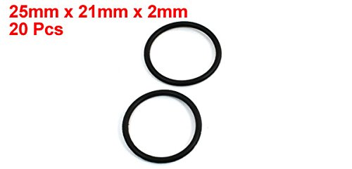 25mm x 2mm uxcell Mechanical Rubber Oil Sealed O Rings Gaskets Washers 20 Piece