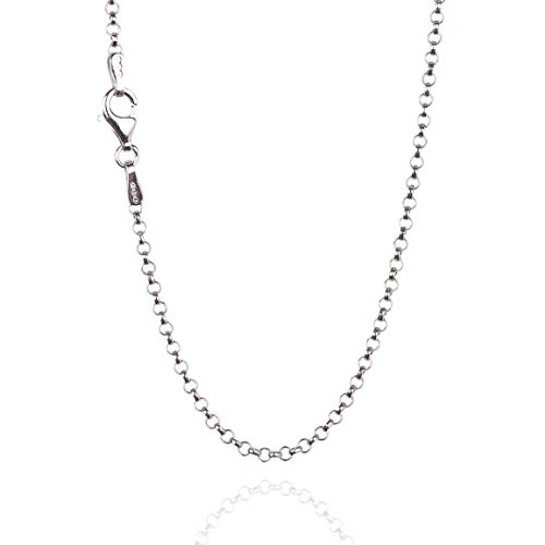(925 Sterling Silver 2.00 mm Round Rolo Chain Necklace with Pear Shape Clasp-Rhodium Finish)