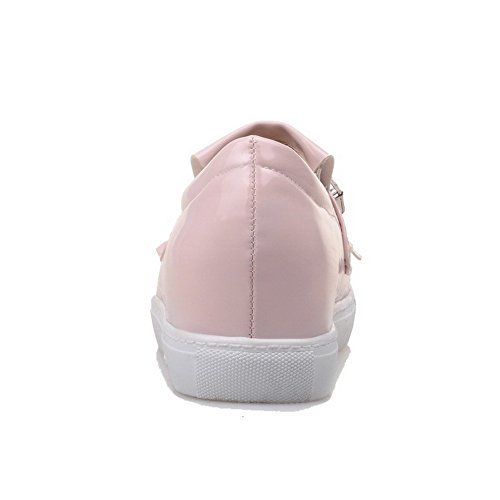 VogueZone009 Women's Solid Soft Material Low-Heels Pull-On Round Closed Toe Pumps-Shoes Pink WPAB4a