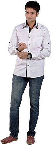 S9 Men Solid Casual White, Black Shirt