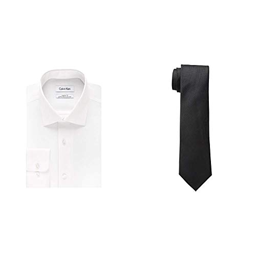- Calvin Klein Men's Regular Fit Non Iron Herringbone Spread Collar Dress Shirt and Silver Spun Solid Tie, White/Black, 15