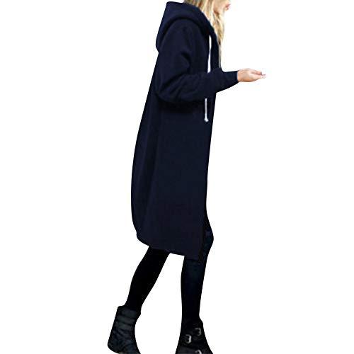 Price comparison product image BETTERUU Women Warm Zipper Open Hoodies Sweatshirt Long Coat Jacket Tops Outwear NY / 3XL